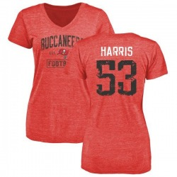 Women's Demone Harris Tampa Bay Buccaneers Red Distressed Name & Number Tri-Blend V-Neck T-Shirt