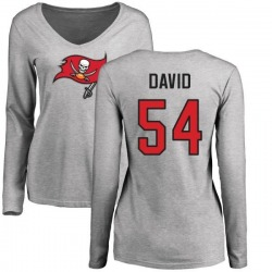 Women's Lavonte David Tampa Bay Buccaneers Name & Number Logo Slim Fit Long Sleeve T-Shirt - Ash