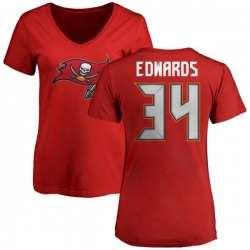 Women's Mike Edwards Tampa Bay Buccaneers Name & Number Logo Slim Fit T-Shirt - Red