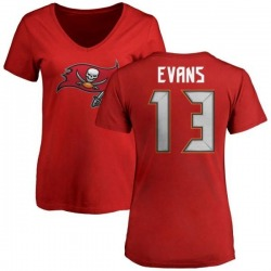 Women's Mike Evans Tampa Bay Buccaneers Name & Number Logo Slim Fit T-Shirt - Red