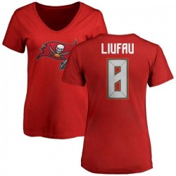 Women's Sefo Liufau Tampa Bay Buccaneers Name & Number Logo Slim Fit T-Shirt - Red