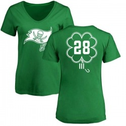 Women's Vernon Hargreaves III Tampa Bay Buccaneers Green St. Patrick's Day Name & Number V-Neck T-Shirt